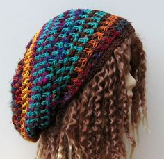 Hemp cotton bamboo sari silk Hippie Dreadlocks Snood Tam Hat