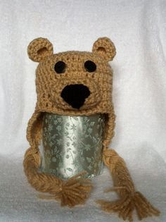Hand Crocheted Teddy Bear Hat  newborn toddler and by ClockQuirks, $20.00 Back in our shop!! Order now.