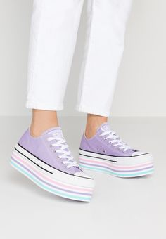 ba38c7be4e CHUCK TAYLOR ALL STAR PLATFORM LAYER - Sneakers laag - washed lilac/white/ black @ Zalando.nl 🛒