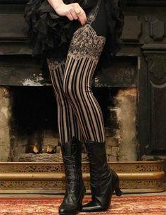 Steampunk Leggings, Tights, Stockings & Socks Jezebel Leggings $44.95 AT vintagedancer.com
