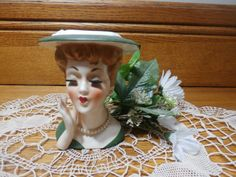Vintage Lady Head Vase 1958 Original Jewelry by GsEclecticAttic