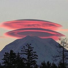 Lenticular clouds over Mt. Rainer, WA, photo by @Michael Brehman