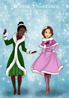 Invierno: Tiana y Rapunzel