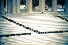 Memorial Amphitheater following Spring Snow at Arlington National Cemetery