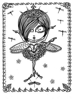 Coloring Book Downloads Funky Fairy Ballerinas by ChubbyMermaid