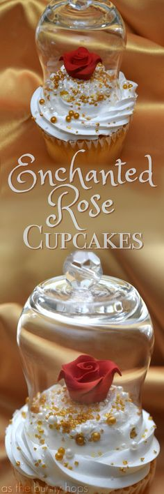 These easy to make Enchanted Rose Cupcakes are the perfect dessert for your Beauty and the Beast-inspired birthday party!