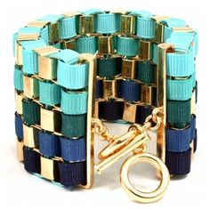 Madiya's Blue Ribbon Wrapped Gold Chain Link Bracelet ($50) ❤ liked on Polyvore
