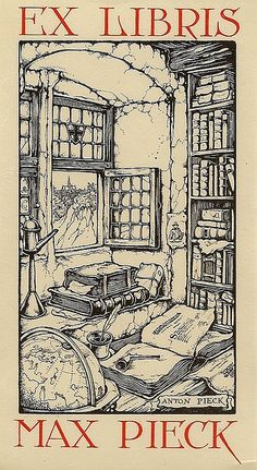 Ex Libris for Max Pieck by Anton Pieck (Dutch, 1895-1987) ~ Anton Franciscus Pieck was a Dutch painter, artist and graphic artist. Pieck married Jo van Poelvoorde (died 1983) in 1922. The couple had three children, Elsa, Anneke and Max (died 1986).  His works are noted for their nostalgic or fairy tale-like character and are widely popular, appearing regularly on cards and calendars.