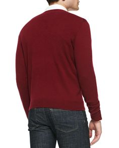 Cashmere V-Neck Sweater, Burgundy