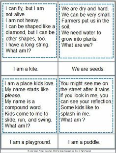 Riddle cards for spring! A fun way to practice inferring and to build vocabulary. Also includes picture cards and a review game. $