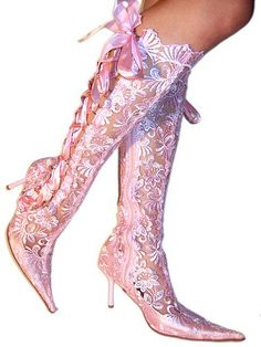 Pink lace wedding boots...... Please someone tell me what isle you would walk down in these?