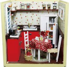 Dollhouse Miniature DIY Kits Red Kitchen