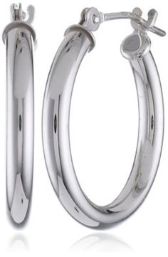 "10k White Gold Hoop Earrings, 0.7"" Diameter Small Hoop Earrings, Silver, New #Klassics #Hoop Stunning and what a deal!"
