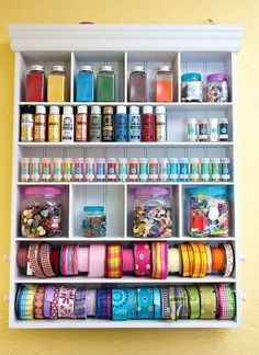 Anyone Can Decorate: Craft Room Organization Inspiration - must remember the ribbon bin (Dollar Tree?)
