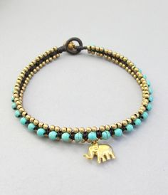 Charm Turquoise and Elephant Pendant Square by handmadethaicountry, $10.00