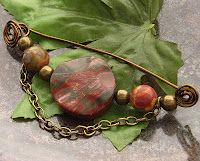 Red creek jasper beads and bronze wire