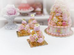 Baby Pink Croquembouche  Miniature French by ParisMiniatures, $25.00