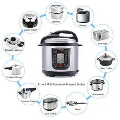 Geek Chef 11-in-1 Multi Pressure Cooker Digital LED Display 6.3 Qt Capacity