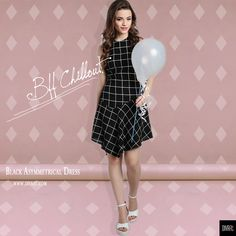 #frinally #FridayWeLoveYou ✌🏻💕 It's a #BffChilloutDay.. How are you #Slaying?  Ft.: Black Asymmetrical Dress Product SKU🔍 D0091  #ootd #potd #thatshowweroll #black #windowpane #plaid #muchlove #divaatfashion