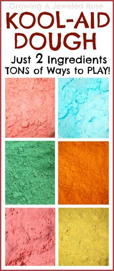 Kool-aid Doughs- just two ingredients and TONS of ways to PLAY!  Each Kool-aid flavor creates a NEW dough to use for different sensory activities.