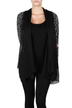 Do & Be Knit Chiffon Cardigan | Sweater cardigan, Black knit and ...