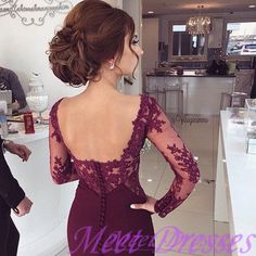 2016 Elegant Prom Dress Burgundy Evening Dresses Mermaid Backless Long Sleeves Lace Party Gowns Sexy Formal Gown - Thumbnail 1