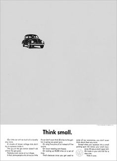 VW – Think small. (1960)
