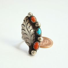 Vintage Navajo Sterling Turquoise Coral Statement Ring Size 6 Southwestern Jewelry by redroselady on Etsy