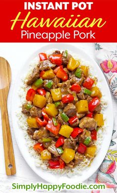 Instant Pot Hawaiian Pineapple Pork brings Hawaiian and Asian flavors to tender . - Instant Pot Recipes and Tips - Beef Pressure Cooker Pork Chops, Instant Pot Pressure Cooker, Pressure Cooker Recipes, Slow Cooker, Pork Recipes, Asian Recipes, Chicken Recipes, Hawaiian Recipes, Pineapple Recipes