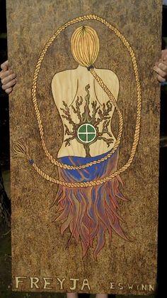 Pyrography devotional to Freyja