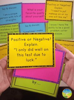 Teaching kids positive thinking skills with task cards. Great for small groups, advisory periods, or morning meetings.