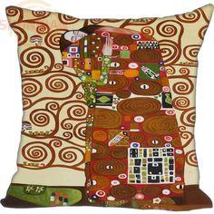 Gustav Klimt The Kiss and The Tree of Life Custom Square Pillowcase - no fill