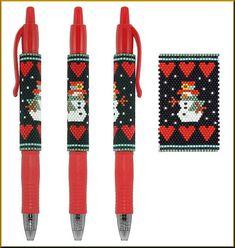 Snowman Love Pilot G-2 Pen Cover Peyote Pattern by Kristy