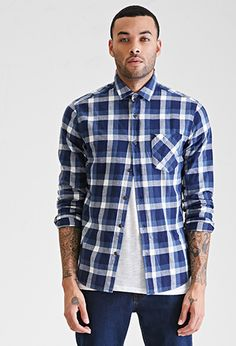 Slim Fit Plaid Flannel Shirt in blue/cream | 21 MEN - 2000121056