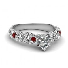 Gorgeous Created Ruby Heart Cut Rhodium Plated Sterling Silver Women's Engagement Ring