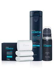 Conjunto Natura Homem Cuidados Diários - Aerossol + Shampoo + Sabonete