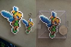 Perler/Mini Beads Tinkerbell Keychain and Magnet by doomDweller