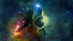 The space fish, a monster in the abyss. Wallpaper 1920 x 1080