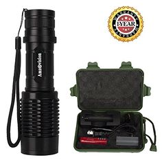 Tactical Flashlight Amz vision Brightest LED Flashlight 5 Modes Zoomable Focus Waterproof with 18650 Rechargeable Battery  Charger * Check out this great product.(This is an Amazon affiliate link)