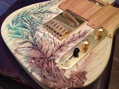 carnegriffiths: #Telecaster #guitar with gold hardware - Customised in ink and tea on bare wood by Carne Griffiths