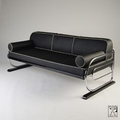 Tubular steel couch/daybed in Aeronautic Streamline Design, Aeronautic Streamline Design - Zeitlos Berlin (Sofas Steel Furniture, Deco Furniture, Unique Furniture, Furniture Design, Ikea Furniture, Steel Sofa, Aviation Decor, Steel Fabrication, Streamline Moderne
