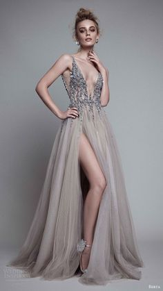 New Sexy Gray Paolo Sebastian Prom Dresses 2018 Deep V Neck Sequins Crystal High Split Backless Long Evening Gowns Prom Party Dress Custom Evening Dresses For Weddings, Prom Dresses, Formal Dresses, Dress Prom, Wedding Gowns, Tulle Dress, Dress Long, Gown Dress, Lace Dress
