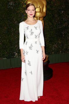 Fabulously Spotted: Lea Seydoux Wearing Prada - Governors Awards 2013 - http://www.becauseiamfabulous.com/2013/11/lea-seydoux-wearing-prada-governors-awards-2013/