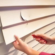 Cracked or broken vinyl siding is no reason for despair. A simple $5 tool gets vinyl siding repair done in 15 minutes. This article also includes Vinyl Siding Repair, Vinyl Siding Installation, How To Patch Drywall, Roofing Nails, New Homeowner, Home Repairs, Autumn Home, Weekend Is Over, Home Projects