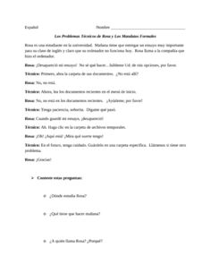 Spanish Formal Commands-Reading Exercise and Practice