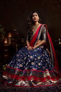 Half Saree Lehenga, Lehenga Saree Design, Lehnga Dress, Indian Lehenga, Lehenga Designs, Lehenga Blouse, Banarasi Lehenga, Sharara, Half Saree Designs