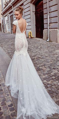 miriams bride 2018 bridal cap sleeves bateau neckline heavily embellished bodice elegant mermaid wedding dress v back chapel train (9) bv -- Miriams Bride 2018 Wedding Dresses