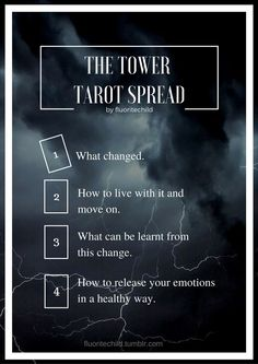 """fluoritechild: """"  Inspired by The Tower and what it represents. This is a spread for dealing with sudden change or loss. """""""