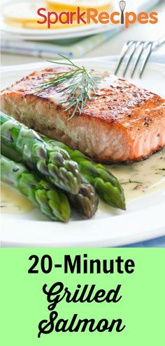 Simple Grilled Salmon Recipe. This is delicious paired with asparagus and brown rice--but any healthy sides will do! | SparkRecipes
