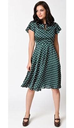 All Things Polka Dotted · Preorder - Unique Vintage 1940s Style Emerald  Green Formosa Swing Dress White Cocktail Dress dbb388aba9
